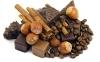 chocolate, cinnamon, nuts, coffee beans