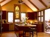 Архитектура и дома.  Современный круглый стол.  Изящная кухня.  Красно-белый дизайн ванной.